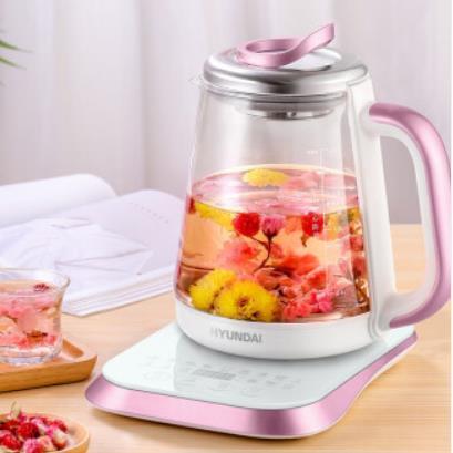 现代(HYUNDAI)养生壶旋钮预约煮茶器迷你玻璃电热水壶花茶壶多功能保温热水壶 QC-YS2022